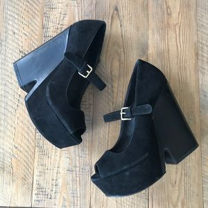 Steve Madden 'Nockout' Suede and Leather Wedges